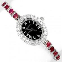 Природный Рубин и Белый Топаз Серебряные Наручные Часы для Женщин