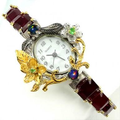 Изящные Часы Ручной Работы для Женщин с Рубином, Опалом, Цаворитом