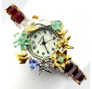 Великолепные Часы Ручной Работы с Рубином, Изумрудом и Таназитом