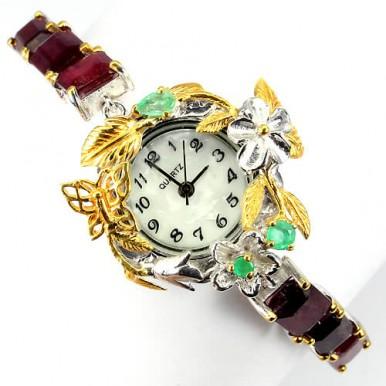 Часы Серебряные Ручной Работы для Женщин с Прекрасным Рубином