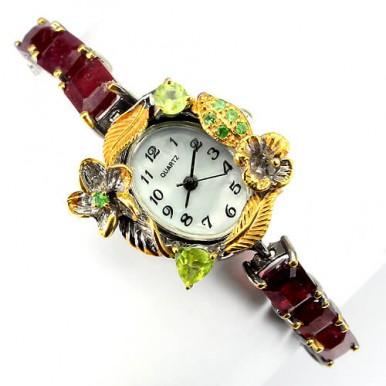 Прекрасные Часы Женские наручные из Серебра с Рубином Ручной Работы