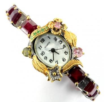 Серебряные 925 Часы Ручной Работы для Женщин с Рубином и Турмалином