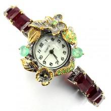 Ручная Работа! Серебряные Наручные Часы для Женщин с Рубином, Изумрудом
