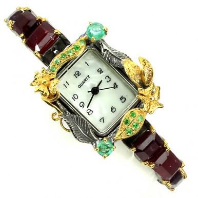 Обаятельные Женские Часы Ручной Работы из Серебра с Рубином, Изумрудом