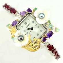 Фантастические Серебряные Часы Ручной Работы с Натуральным Рубином