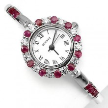 Славные Серебряные Часы для Женщин с Красным Рубином и Фианитом