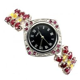 Натуральный Рубин и Желтый Сапфир Серебряные Часы для Женщин