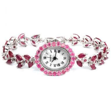 Натуральный Красный и Розовый Рубин Серебряные Женские Часы