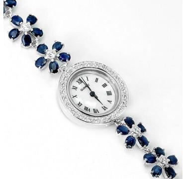 Великолепные Наручные Женские Часы с Натуральным Синим Сапфиром