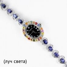 Элегантные Наручные Серебряные Часы со Звездным Сапфиром и Фианитом