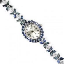 Превосходные Серебряные Женские Часы на Руку с Натуральным Сапфиром
