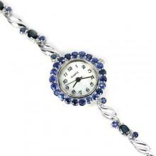 Нежные 925 Пробы Серебряные Женские Часы с Природным Сапфиром