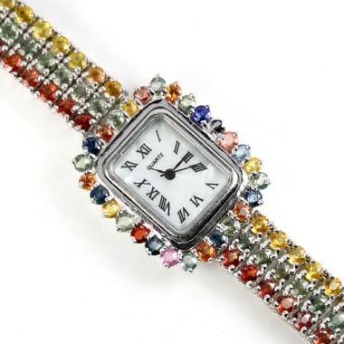 Женские Часы из Серебра 925 пробы с Природным Разноцветным Сапфиром