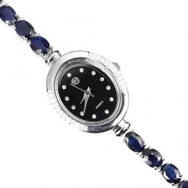 Стильные Ювелирные Женские Часы из Серебра с Натуральным Сапфиром