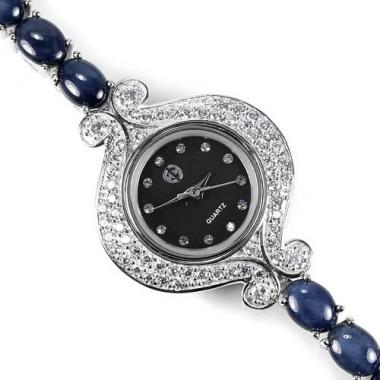 Звездный Сапфир Редкий Натуральный Серебряные Женские Часы на Руку