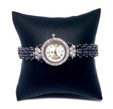 Очаровательные Серебряные Часы для Женщин с Синим Сапфиром