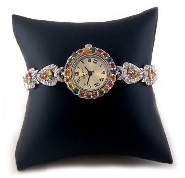 Обаятельные Часы Из Серебра Женские с Разноцветным Сапфиром
