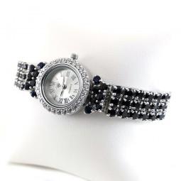 Регулируемые Женские Часы из Серебра с Натуральным Сапфиром