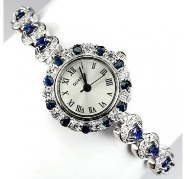 Сияющие Женские Серебряные Часы на Руку с Природным Сапфиром