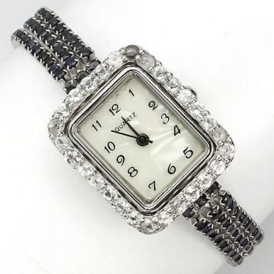 Природный  Синий Сапфир и Белый Топаз Серебряные Женские Наручные Часы
