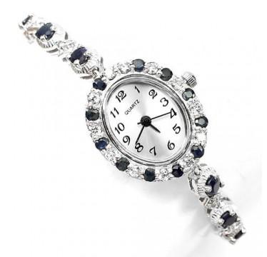 Милые 925 Пробы Серебряные Женские Часы на Руку с Синим Сапфиром