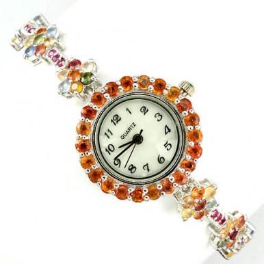 Необычные Женские Часы с Природным Разноцветным Сапфиром и Рубином