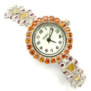 Оригинальные Наручные Серебряные Часы с Желтым Сапфиром и Рубином