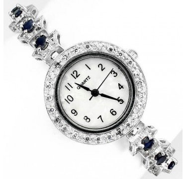 Блестящие Драгоценные Часы из Серебра 925 Пробы с Синим Сапфиром