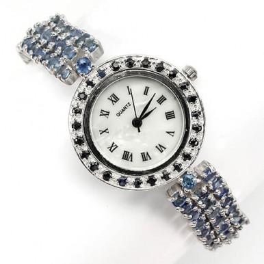 Роскошные Наручные Ювелирные Часы из Серебра с Синим Сапфиром
