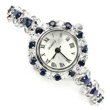 Ослепительные Наручные Серебряные Часы для Женщин с Сапфиром