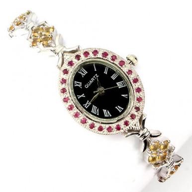 Натуральный Желтый Сапфир и Рубин Серебряные Женские Часы на Руку