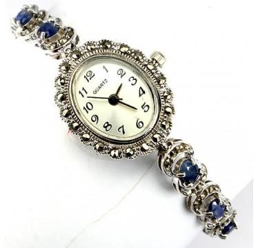 Винтажные Женские Наручные Часы из Серебра с Сапфиром и Марказитом