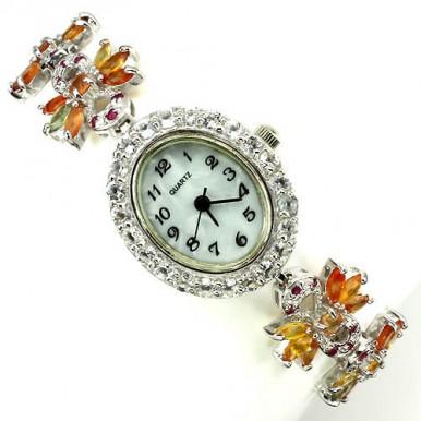 Очаровательные Наручные Серебряные Часы для Женщин с Желтым Сапфиром