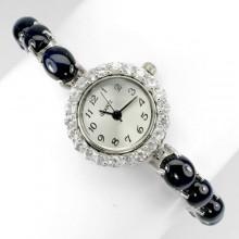 Редкий Звездный Сапфир и Белый Топаз Серебряные Часы для Женщин
