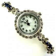 Серебряные Часы в Винтажном Стиле для Женщин с Сапфиром и Марказитом