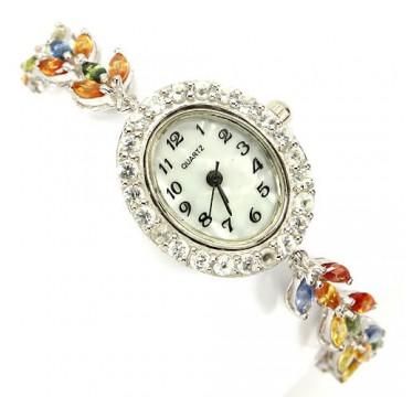 Красивые Ювелирные Женские Часы из Серебра с Сапфиром и Топазом