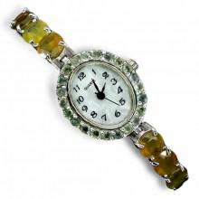Изящные Женские Наручные Часы с Редким Желтым и Зеленым Сапфиром