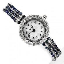 Ювелирные Женские Серебряные Часы на Руку с Сапфиром и Топазом