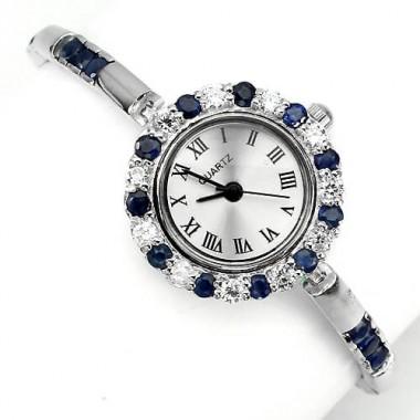 Деликатные Женские Ювелирные Часы с Сапфиром из Серебра 925 Пробы