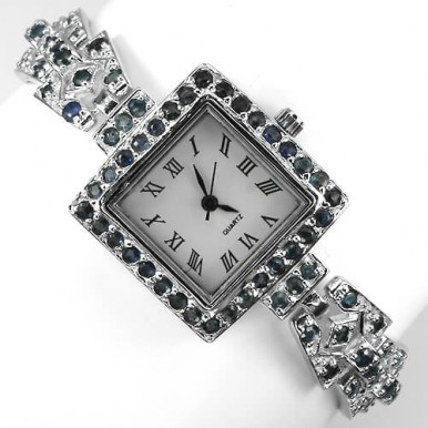 Эксклюзивные Серебряные Наручные Часы с Синим Сапфиром для Женщин