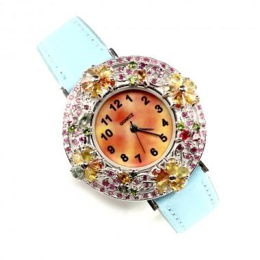 Разноцветный Сапфир и Рубин Серебряные Часы на Кожаном Ремешке