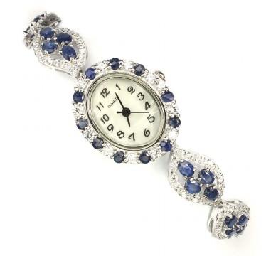 Натуральные Синие Сапфиры и Фианиты Женские Серебряные Часы