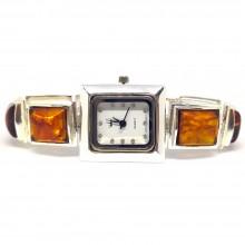 Медовый Натуральный Янтарь Серебряные Часы для Женщин