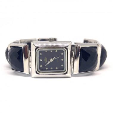 Натуральный Чёрный Оникс Серебряные Часы для Женщин