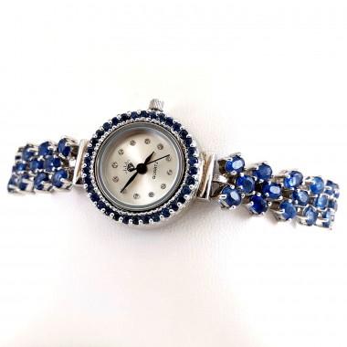 Натуральный Синий Кианит Женские Серебряные Часы Регулируемые