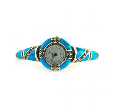 Натуральная Голубая Бирюза и Марказит Часы Женские Серебро
