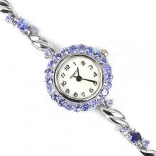 Милые Серебряные Женские Часы с Натуральным Синим Танзанитом