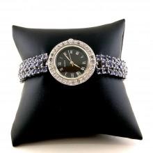 Серебряные Часы Женские с Фиолетовым Танзанитом и Белым Топазом