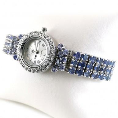 925 Серебро Наручные Часы для Женщин с Натуральными Танзанитами