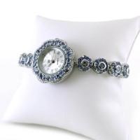 Настоящий Танзанит Женские Часы из Серебра 925 Пробы с Браслетом